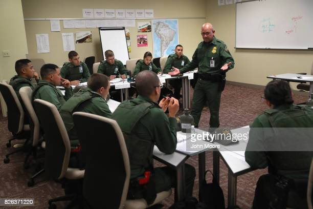 New US Border Patrol agents attend a Spanish language class at the Border Patrol Academy on August 2 2017 in Artesia New Mexico All new Border Patrol...