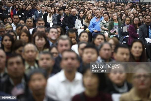 New US citizens gather at a naturalization ceremony on March 20 2018 in Los Angeles California The naturalization ceremony welcomed more than 7200...