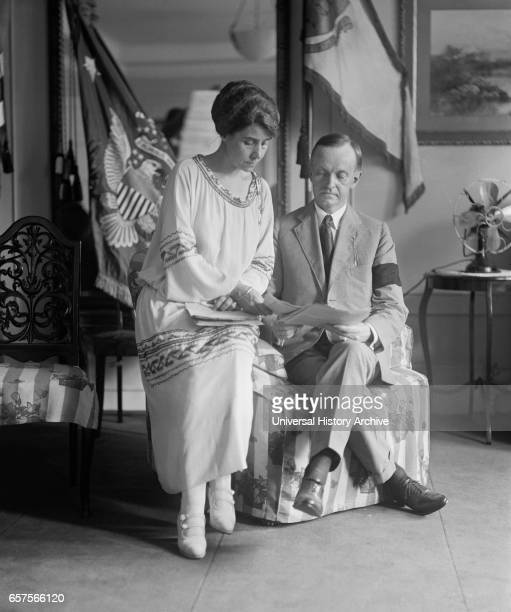 New US President Calvin Coolidge and First Lady Grace Coolidge after death of US President Warren G Harding Washington DC USA National Photo Company...