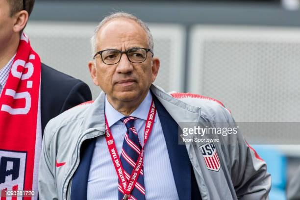 New US Soccer president Carlos Cordeiro stands on the sidelines before the US Men's National Team friendly soccer match against Costa Rica on...