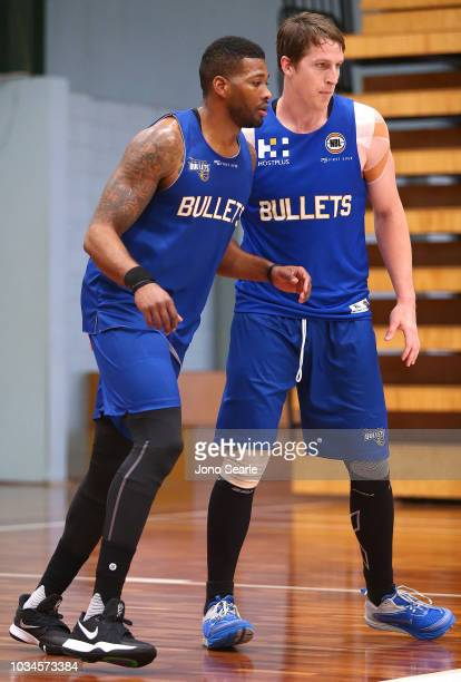 New USA import Alonzo Gee and Cameron Bairstow compete during a Brisbane Bullets NBL training session on September 17 2018 in Brisbane Australia