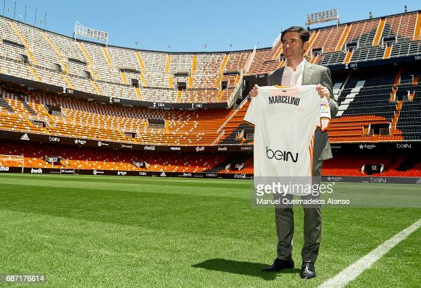 New Valencia CF head coach Marcelino Garcia poses during his presentation at Mestalla stadium on May 23 2017 in Valencia Spain