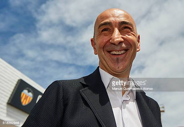 New Valencia CF head coach Pako Ayestaran poses outside the Paterna Training Centre following a press conference on March 31 2016 in Valencia Spain