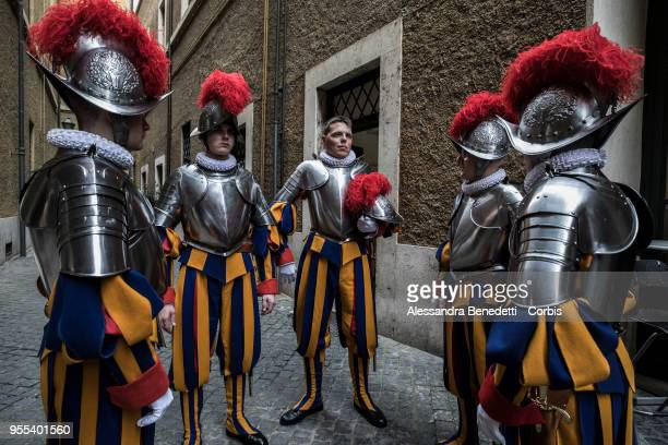 33 new Vatican Swiss Guards recruits prepare to swear in during a ceremony at St Damaso courtyard on May 6 2018 in Vatican City Vatican The annual...