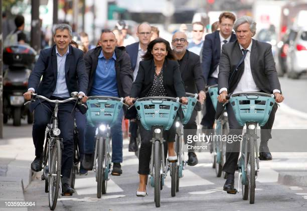 New Velib Metropole selfservice public bikes by Smovengo are seen at a distribution point on September 19 2018 in Paris France On the occasion of...