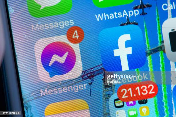 New version of Messenger with purple icon in L'Aquila on October 18 2020 Facebook Messenger app updates and its logo turns purple