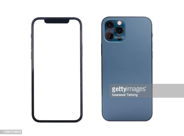 new version of slim smartphone  with blank white screen, mockup - telefone inteligente imagens e fotografias de stock