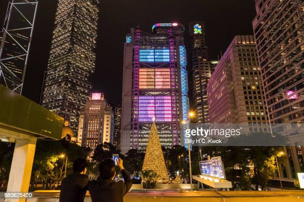 A new version of Symphony of Lights laser show is performed at HSBC building on December 1 2017 in Hong Kong Hong Kong Featuring dynamic rays of...