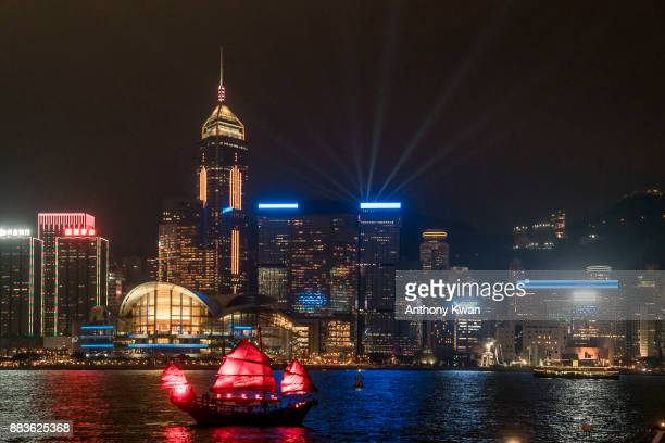 A new version of Symphony of Lights laser show is performed over the Victoria Harbor on December 1 2017 in Hong Kong Hong Kong Featuring dynamic rays...