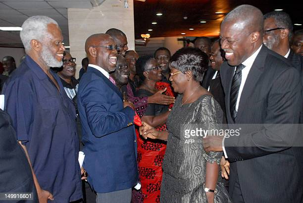 New Vice President of Kwesi Bekoe AmissahArthur and his wife greet the crowd after the swearing in ceremony in Accra on August 6 2012 Former central...