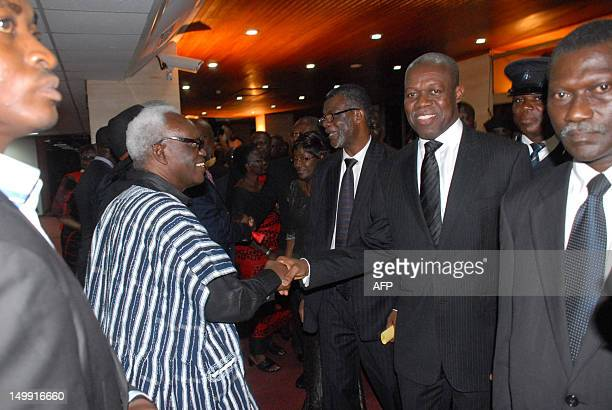 New Vice President of Kwesi Bekoe AmissahArthur greets the crowd after the swearing in ceremony in Accra on August 6 2012 Former central bank...
