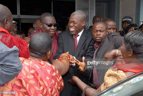 New Vice President of Kwesi Bekoe AmissahArthur is greeted by supporters after the swearing in ceremony in Accra on August 6 2012 Former central bank...