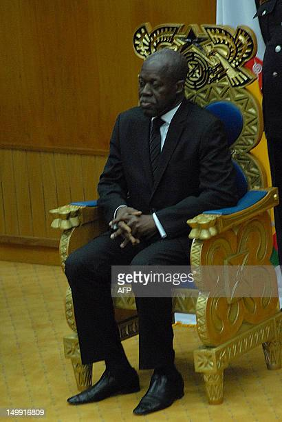 New Vice President of Kwesi Bekoe AmissahArthur sits in a presidential chair during the swearing in ceremony in Accra on August 6 2012 Former central...