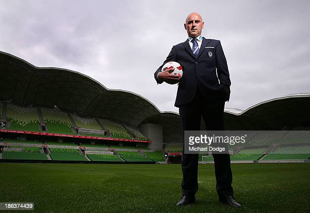 New Victory coach Kevin Muscat poses after a Melbourne Victory ALeague press conference at AAMI Park on October 31 2013 in Melbourne Australia