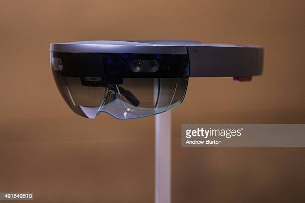 A new virtual reality gaming head set titled the Microsoft HoloLens sit on display at a media event for new Microsoft products on October 6 2015 in...