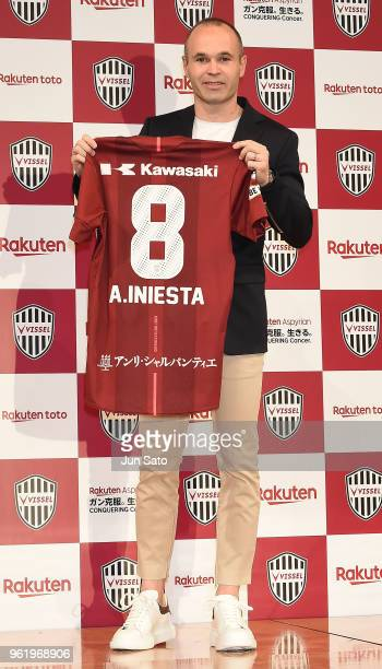 New Vissel Kobe bplayer Andres Iniesta attends a press conference at ANA Intercontinental Hotel on May 24 2018 in Tokyo Japan
