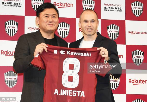 New Vissel Kobe player Andres Iniesta and Rakuten Inc CEO Hiroshi Mikitani attend a press conference on May 24 2018 in Tokyo Japan