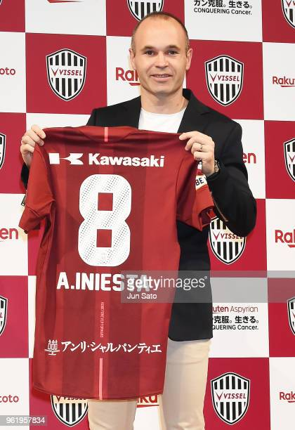 New Vissel Kobe player Andres Iniesta attends a press conference on May 24 2018 in Tokyo Japan