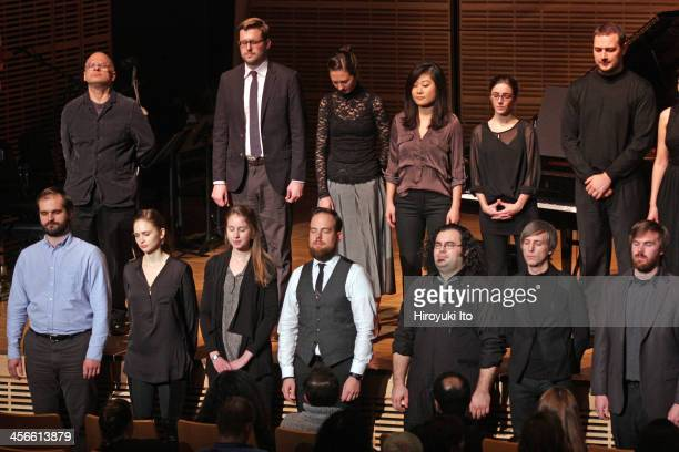 New Voices New Music at Zankel Hall on Wednesday night November 20 2013This imageThe composer David Lang far left on top row with young composers and...