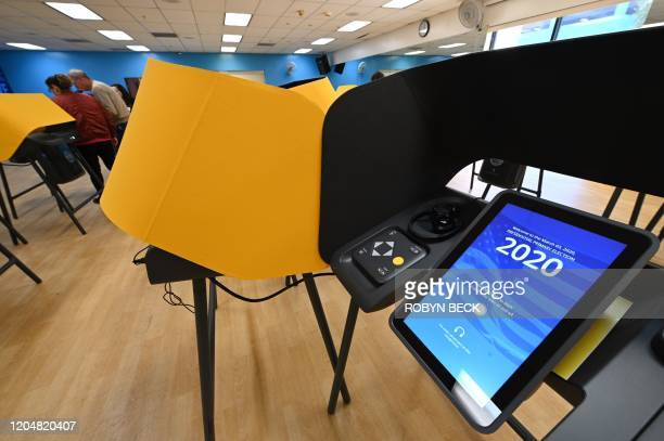 New voting equipment is seen at the YMCA in Burbank California on March 2 during early voting for the California presidential primary election ahead...