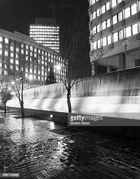 A new waterfall in City Hall Plaza in Boston on Nov 25 1969