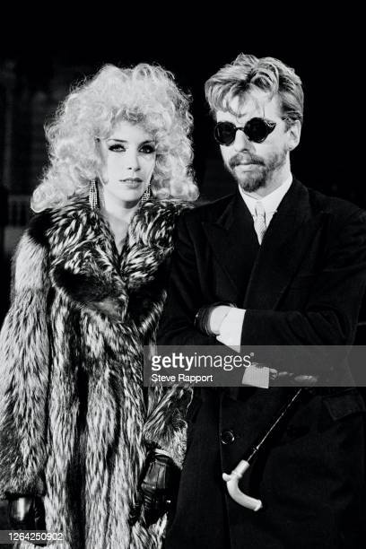 New Wave and Pop musicians Annie Lennox and Dave Stewart, of the group Eurythmics, film the 'Love is a Stranger' music video, 9/10/1982.