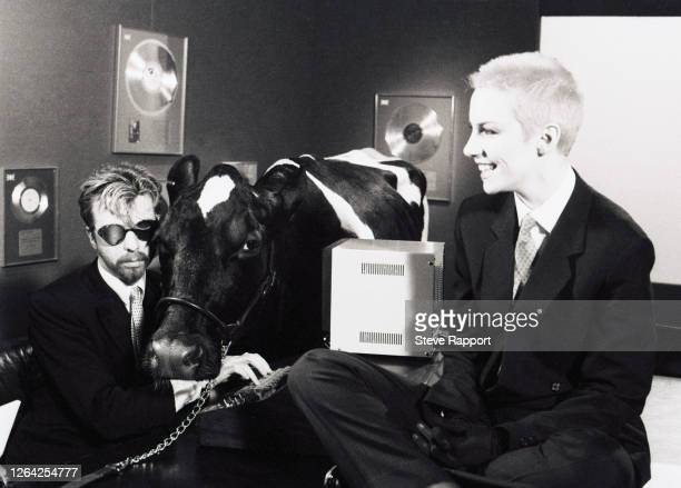 New Wave and Pop musicians Dave Stewart and Annie Lennox, of the group Eurythmics, films the 'Sweet Dreams ' music video , 1/6/1983.