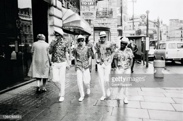 New Wave musicians Dave McClymont, Edwyn Collins, Malcolm Ross, and Zeke Manyika, of the group Orange Juice, film the 'Rip It Up' music, London,...