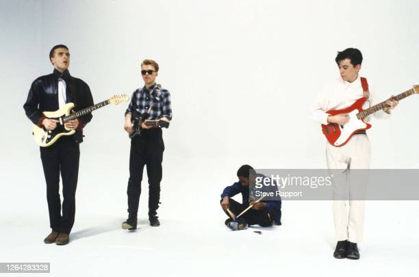 New Wave musicians, from left, Malcolm Ross, Edwyn Collins, Zeke Manyika, and Dave McClymont, of the group Orange Juice, film the 'Rip It Up' music,...