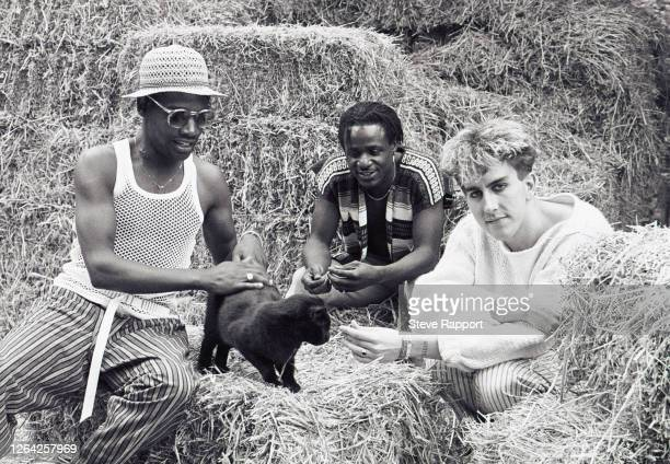 New Wave musicians Lynval Golding, Neville Staple, and Terry Hall, of the group Fun Boy Three, film the 'Summertime' music video, 7/20/1982.