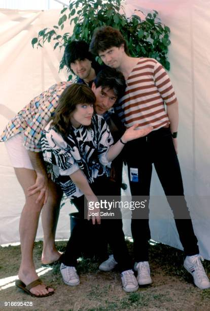 "New wave rock band Katrina and the Waves pose backstage September 1 1985 at a ""Day On the Green"" concert headlined by Wham At the Oakland Coliseum..."