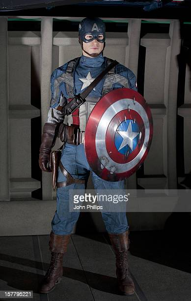 A New Wax Work Figure Of Captain America Who Is Being Played By Chris Evans Is Unveiled And Added To The Superhero Line Up At Madam Tussauds Backer...