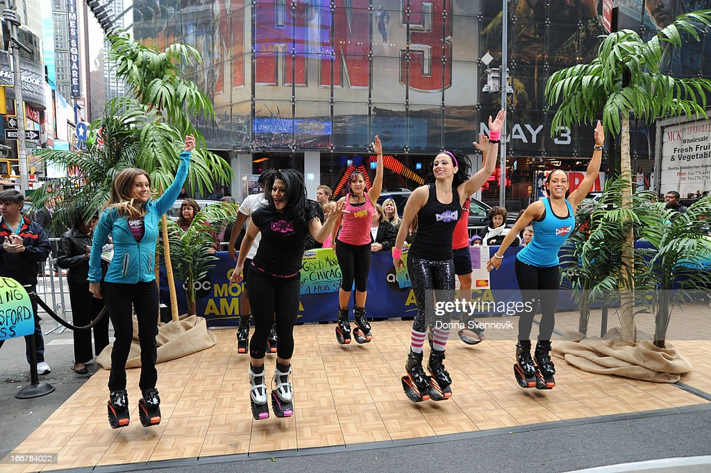 AMERICA - A new way to work out is shared on 'Good Morning America,' 4/12/13, airing on the ABC Television Network. (Photo by Donna Svennevik/ABC via Getty Images) DANCERS