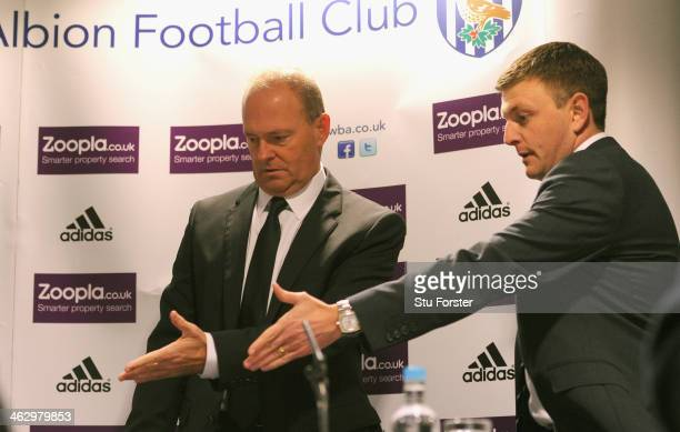 New West Bromwich Albion manager Pepe Mel is shown to his seat at the table by Richard Garlick sporting and technical director before facing the...