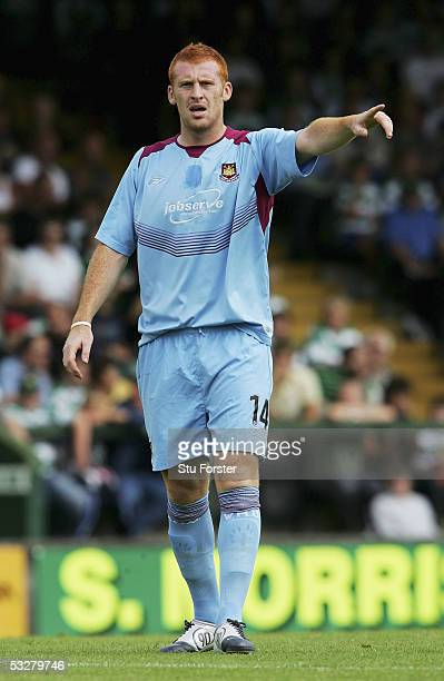 New West Ham signing James Collins makes a point during the friendly game between Yeovil and West Ham United at Huish Park on July 23 2005 in Yeovil...