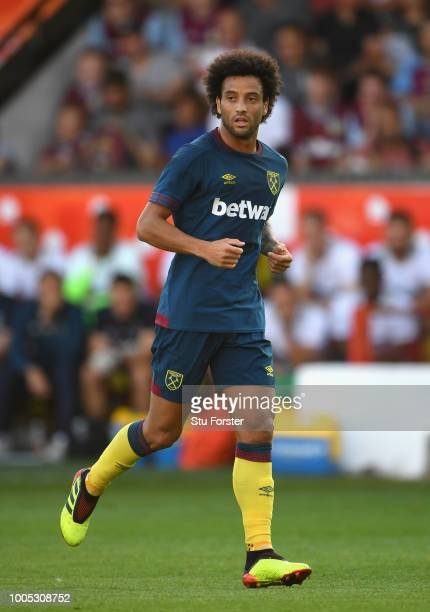 New West Ham United signing Felipe Anderson in action during a friendly match between Aston Villa and West Ham United at Banks' Stadium on July 25...