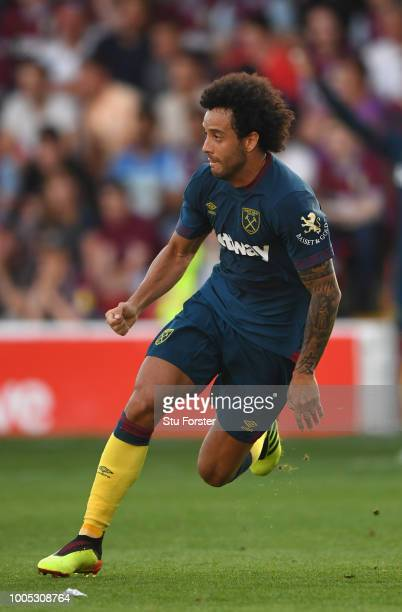 New West Ham United signing Felipe Anderson in action during a friendly match between Aston Villa and West Ham United at Banks' Stadium on July 25,...