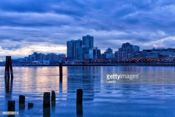 New Westminster Cityscape after sunset, BC, Canada