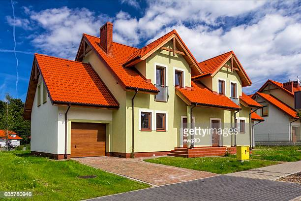 New white semi-detached residential house in the suburb