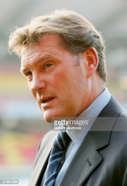 New Wolves manager Glenn Hoddle during a prematch tv interview before the CocaCola Championship match between Watford and Wolverhampton Wanderers...
