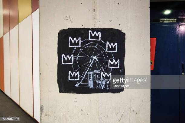 A new work by street artist Banksy sits on a wall by the Barbican Centre on September 18 2017 in London England The two new Banksy murals which have...