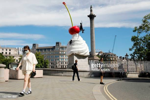 A new work of art entitled 'The End' by British artist Heather Phillipson was unveiled on the fourth plinth in Trafalgar Square in London on July 30...