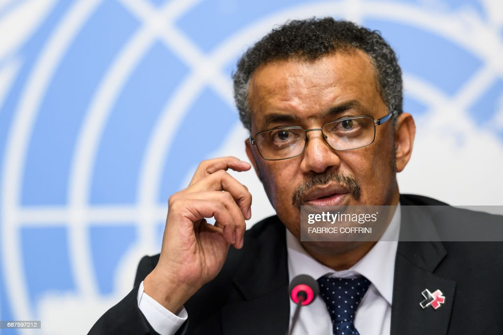 New World Health Organization (WHO) Director General Ethiopia's Tedros Adhanom Ghebreyesus holds a press conference on the day after his election by the World Health Assembly (WHA) on May 24, 2017 in Geneva. The first African to head the World Health Organization, Ethiopia's Tedros Adhanom, says he aims to replicate his success in turning around his country's healthcare system on the global stage. / AFP PHOTO / Fabrice COFFRINI