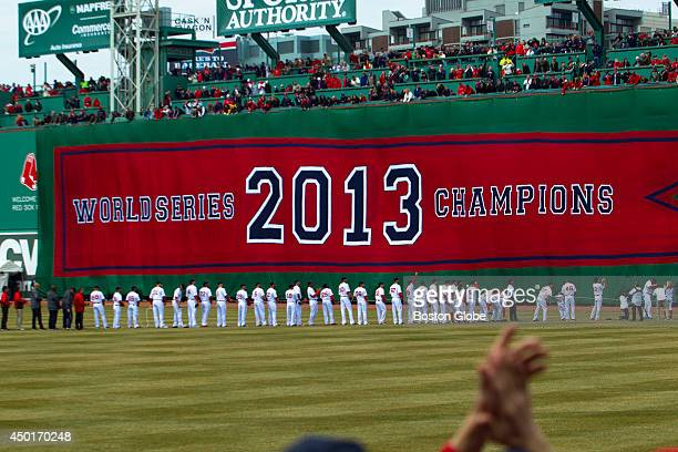 A new World Series Champions banner was unfurled during the pregame ceremonies of the Boston Red Sox's home opener against the Milwaukee Brewers at...