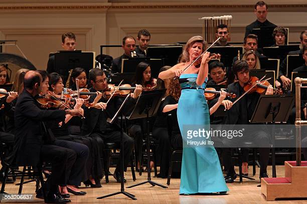 New World Symphony performing at Carnegie Hall on Tuesday night April 28 2015This imageAnneSophie Mutter performing Berg's 'Violin Concerto' with the...