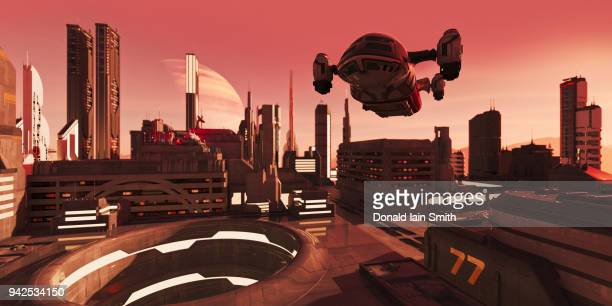 New world with futuristic city, spacecraft and red atmosphere