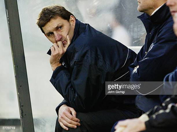 New Wycombe Wanderers manager Tony Adams looks on from the dugout in his first match in charge during the FA Cup first round match between Wycombe...