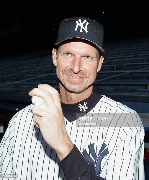 New Yankee pitcher Randy Johnson poses during a press conference on January 11 2005 at Yankee Stadium in the Bronx borough of New York City