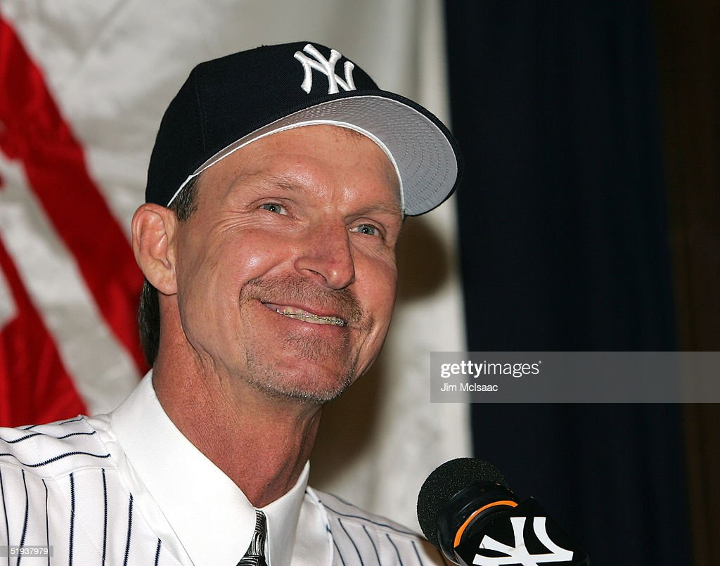New Yankee pitcher Randy Johnson smiles as he speaks with the media during a press conference on January 11, 2005 at Yankee Stadium in the Bronx borough of New York City.