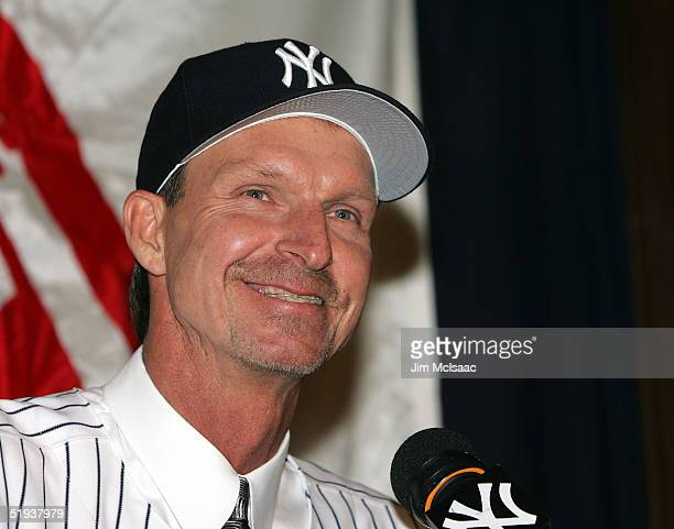 New Yankee pitcher Randy Johnson smiles as he speaks with the media during a press conference on January 11 2005 at Yankee Stadium in the Bronx...